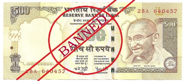 Rs.500 and Rs.1000 Notes currency banned in India